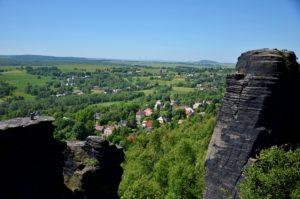 pohled na obec Tisá nedaleko Českého Švýcarska