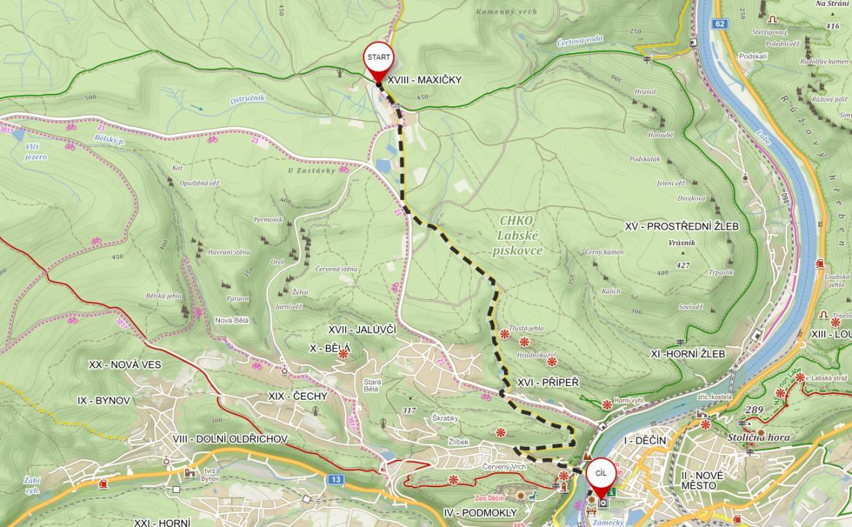 Mapa výletu maxičky