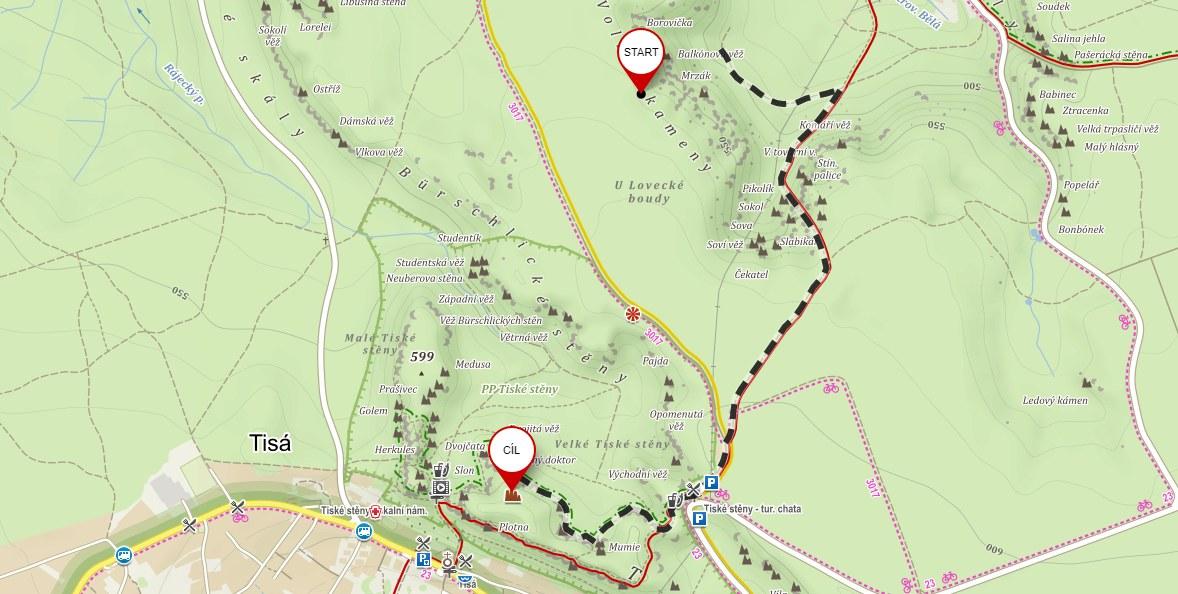 Mapa výlet do Tiských stěn