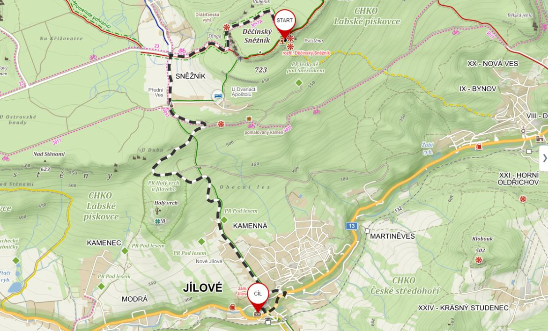 Mapa tip na výlet Sněžník