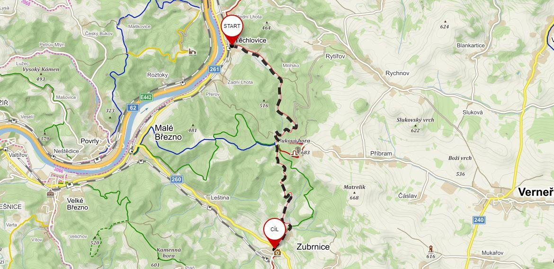 Mapa výletu do Zubrnic