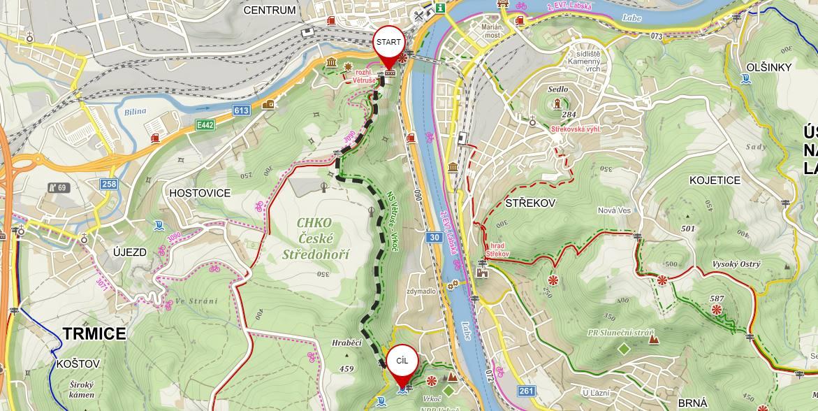 Mapa výletu na Vaňovský vodopád