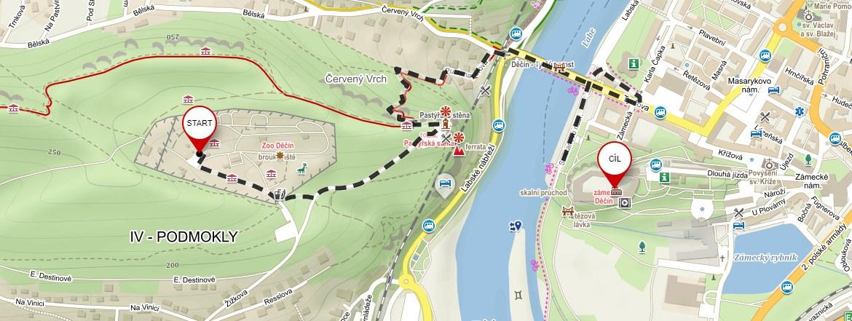 Mapa ze Zoo Děčín na zámek