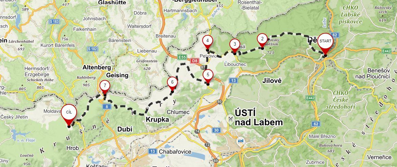 Z Děčína do Nového Města mapa